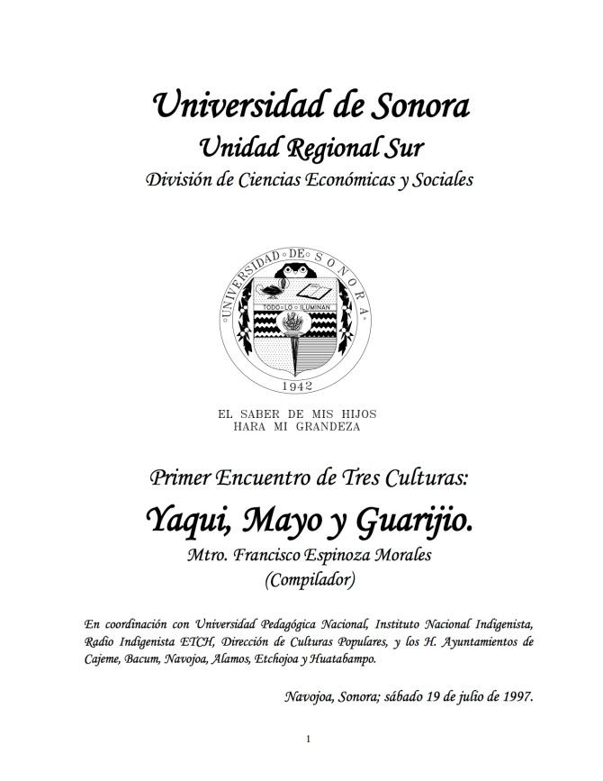 Memoria del encuentro de Tres Culturas Yaquis, Mayos y Guarijio