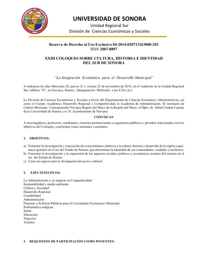 CONVOCATORIA XXIII COLOQUIO SOBRE CULTURA, HIST