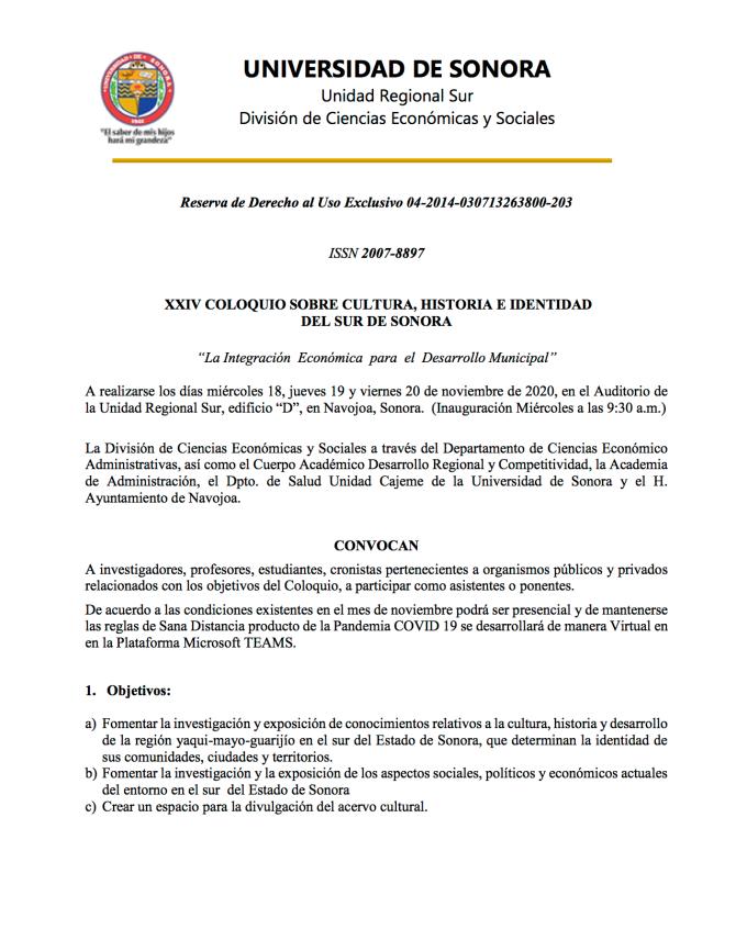 CONVOCATORIA XXIV COLOQUIO SOBRE CULTURA, HIST